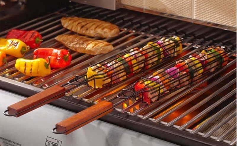 kebab grilling baskets on grill