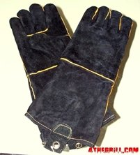 black leather grilling gloves