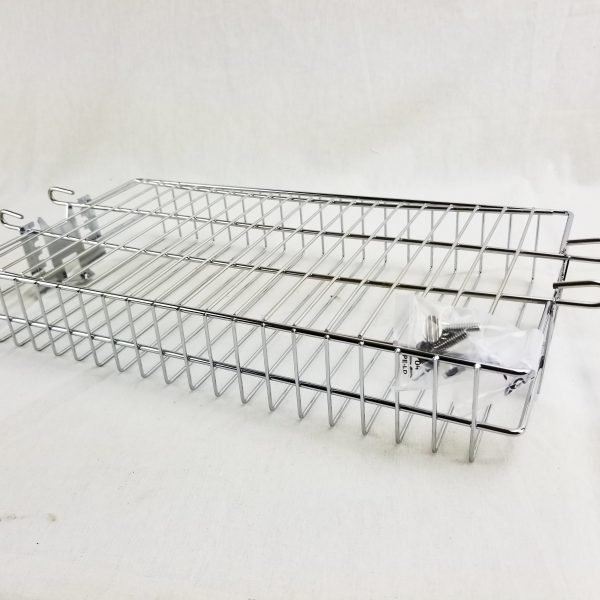 Stainless Rotisserie Basket Flat 14 x 7.5 inches OneGrill