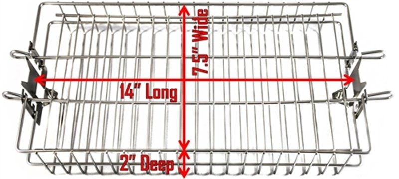 Stainless Rotisserie Basket Flat size