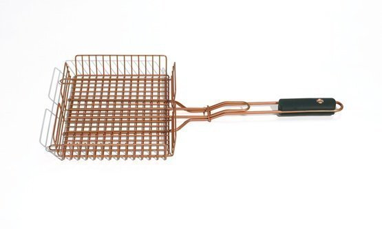 Copper Look Adjustable Height Grilling Basket Outset