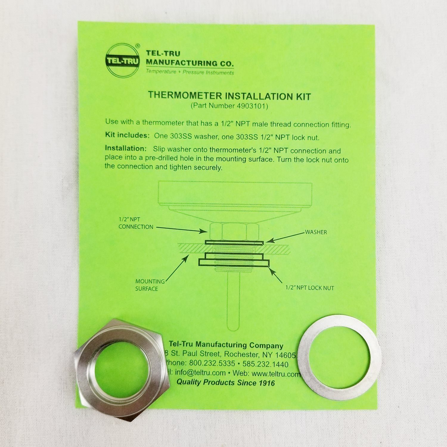 Tel-Tru Installation Kit for Barbecue Thermometers