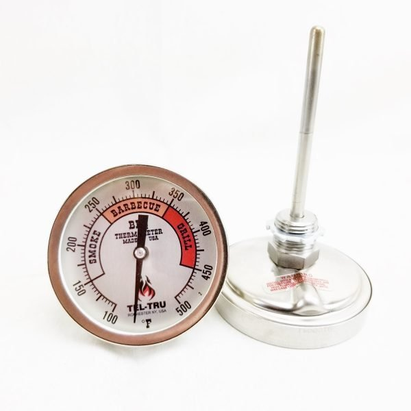 Smoker Thermometer Long Stem Plain Red Zones Dial Tel-Tru