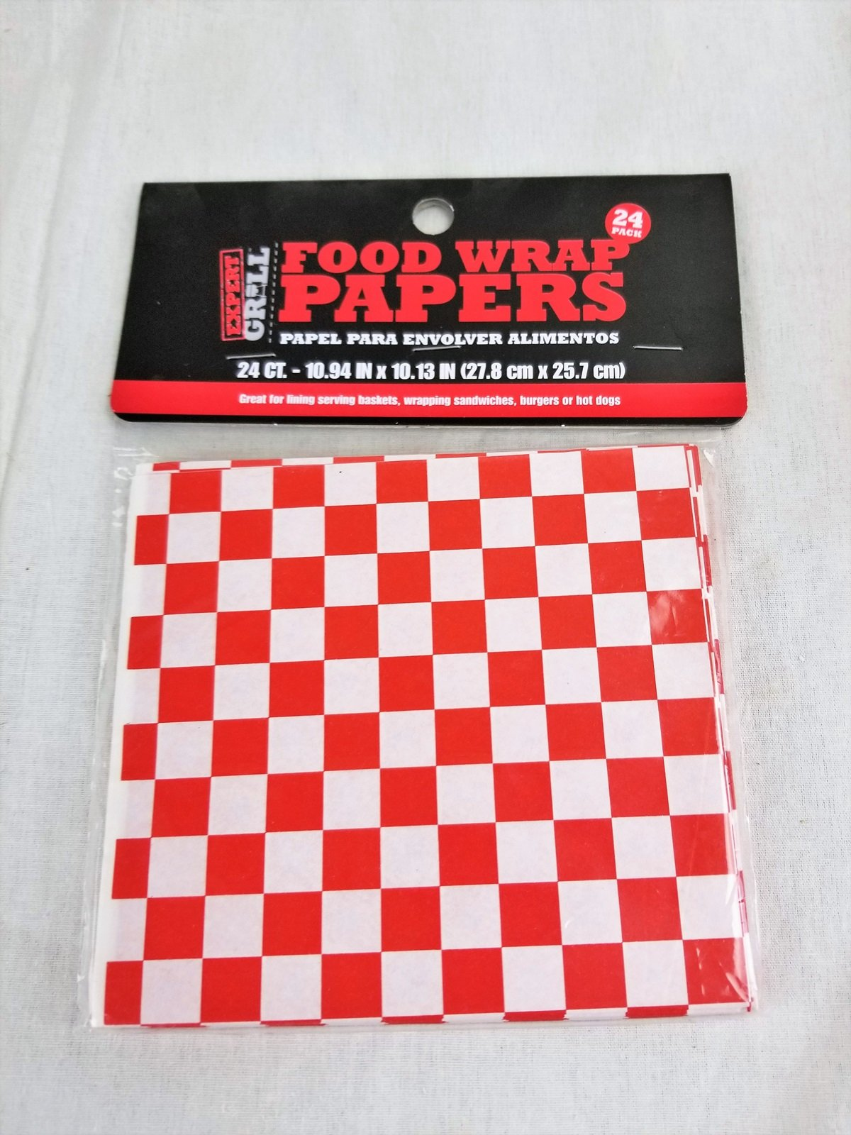 Food Basket Liners Red Checker in package