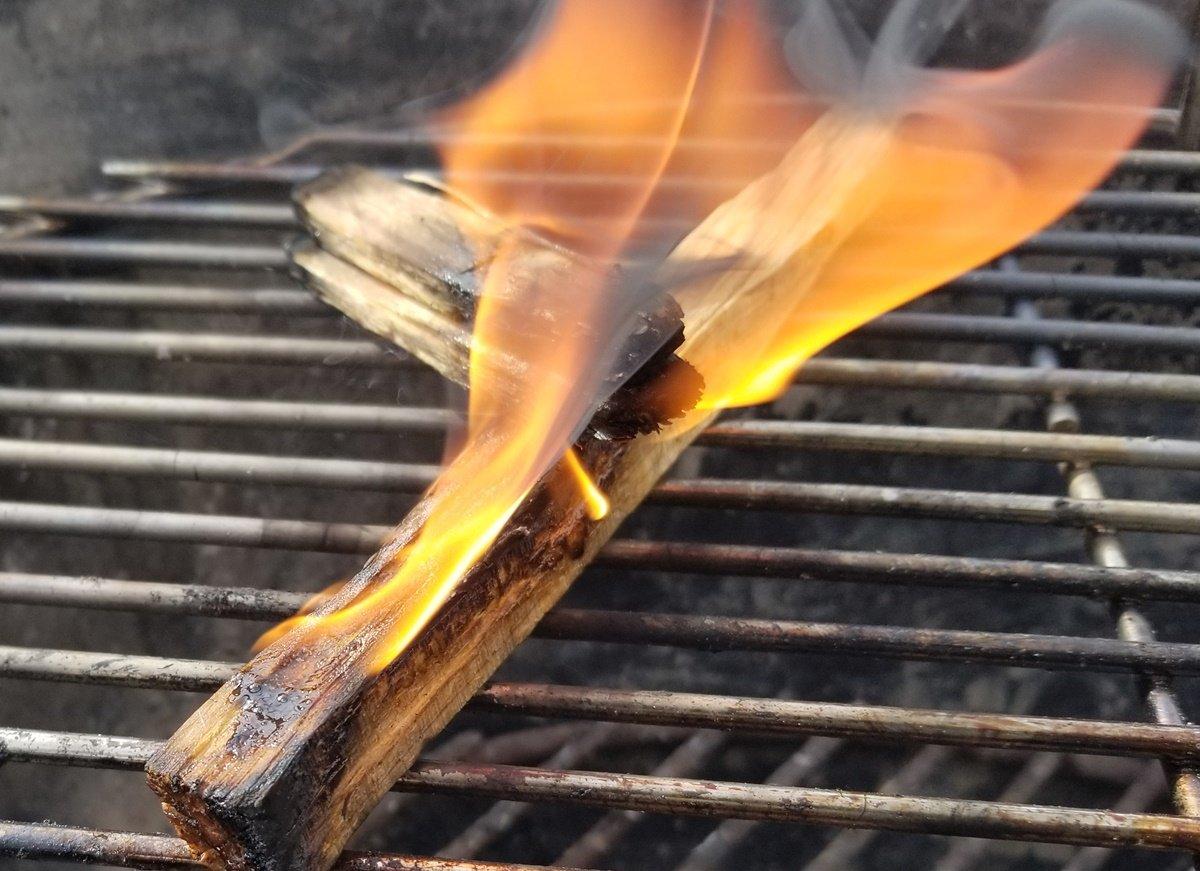pair of Betterwood Fatwood Firestarters burning