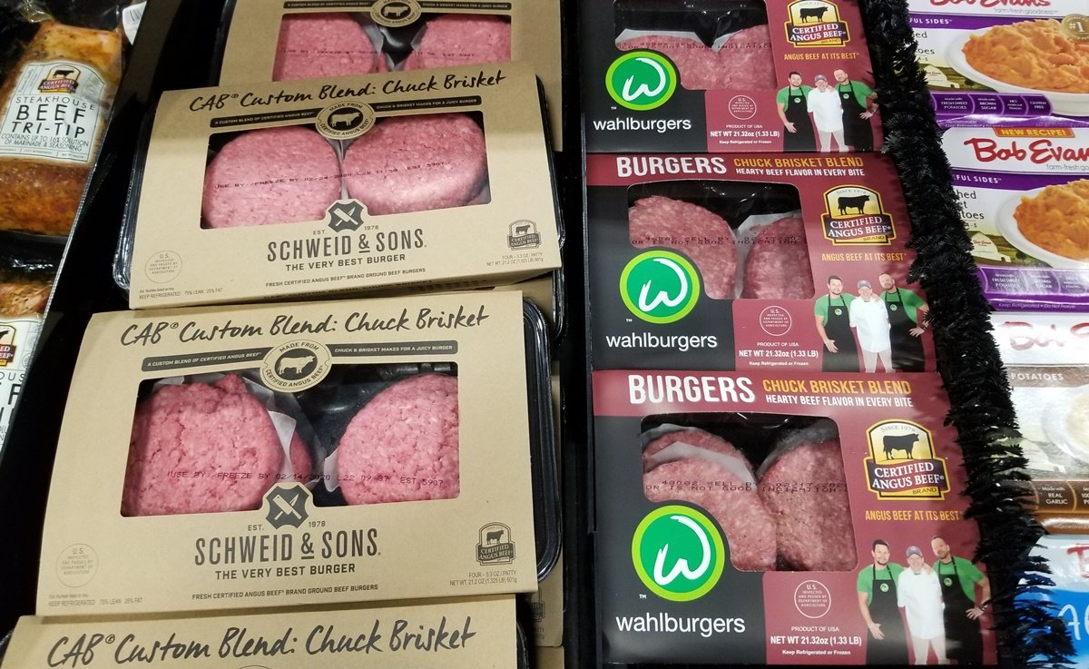 Wahlburgers Ground Beef Patties in grocery store case